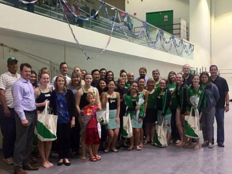 Senior girls celebrate their final swim at York