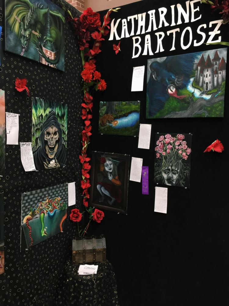First place winner of the entire art show, Katharine Bartosz takes home the title for the second time in a row with her beautiful yet twisted fairy tale paintings.