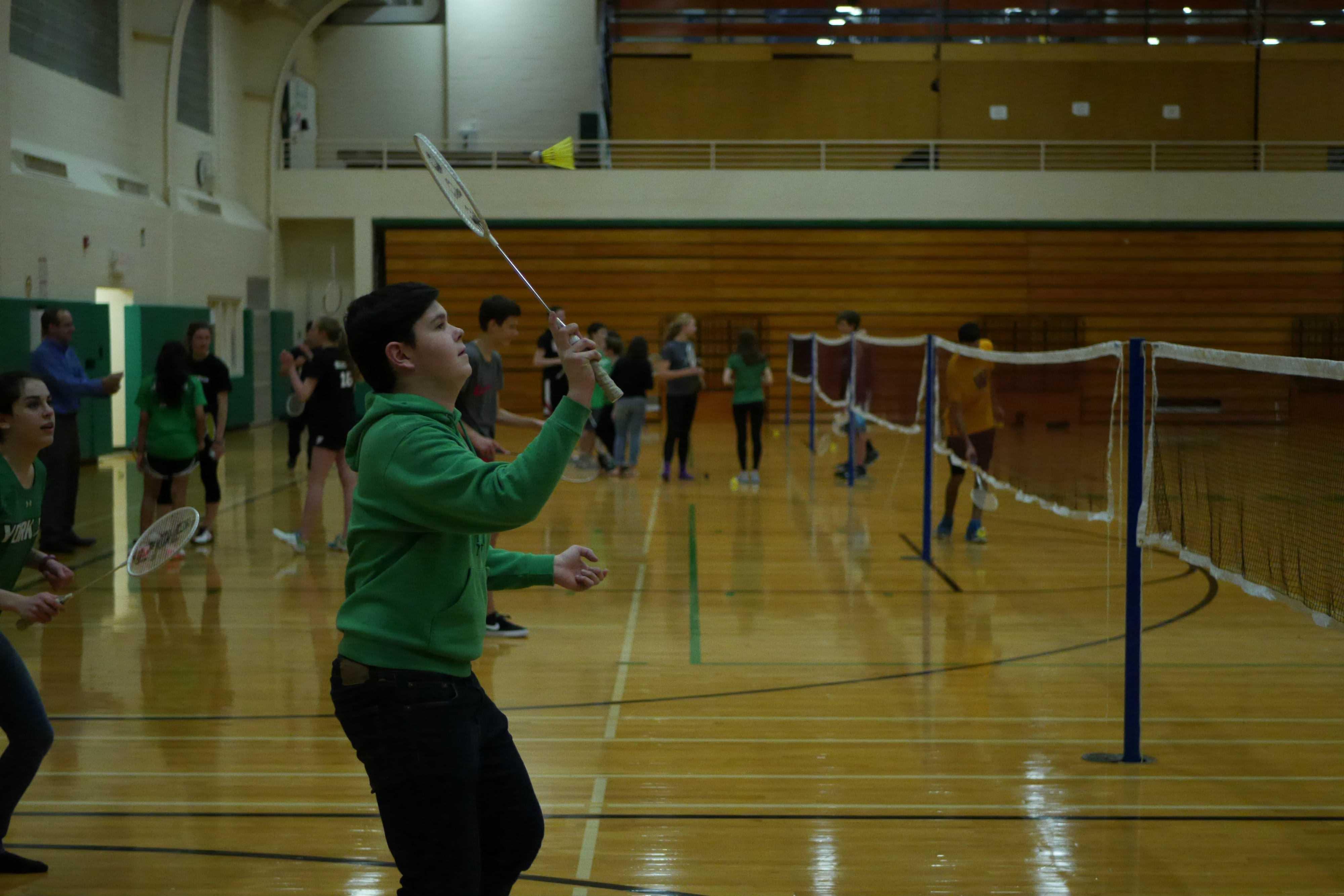 Students participate in BadMANton Tournament.