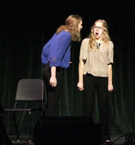 Seniors and co-captains Morgan Taylor and Tatum Langley performing their comedic duet piece at last year's fine arts week.