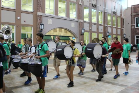 Marching band on their way out of the commons