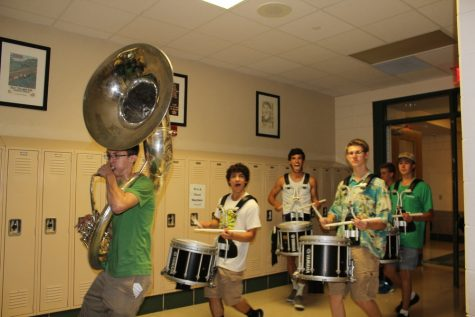 Marching band drumline from left to right: Ben Airdo (Sophomore), Matt Shiley (Senior), Eric Doberstein (junior), Peter Connor(senior)