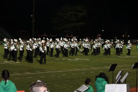 Marching band performs their half time set.