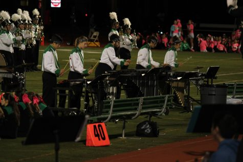 Marching band drumline at half time.