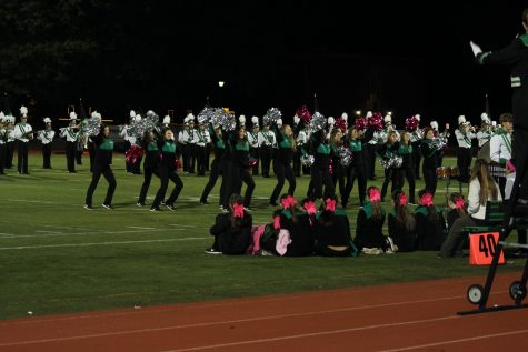 Poms performing to the music of marching band at halftime.