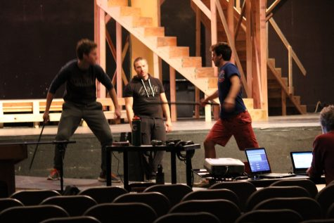 Orion working with Billy Riek and Martenson on their fight that occurs in the final moments of the play.
