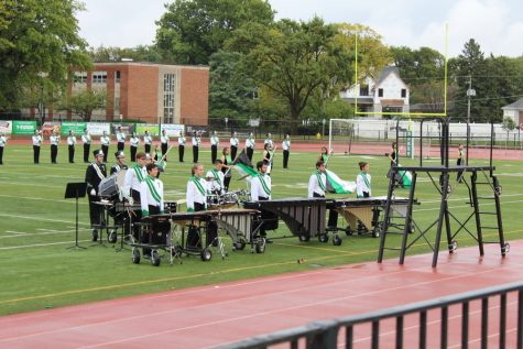 York drumline bonded with the visitors by having a friendly competition under the stands.