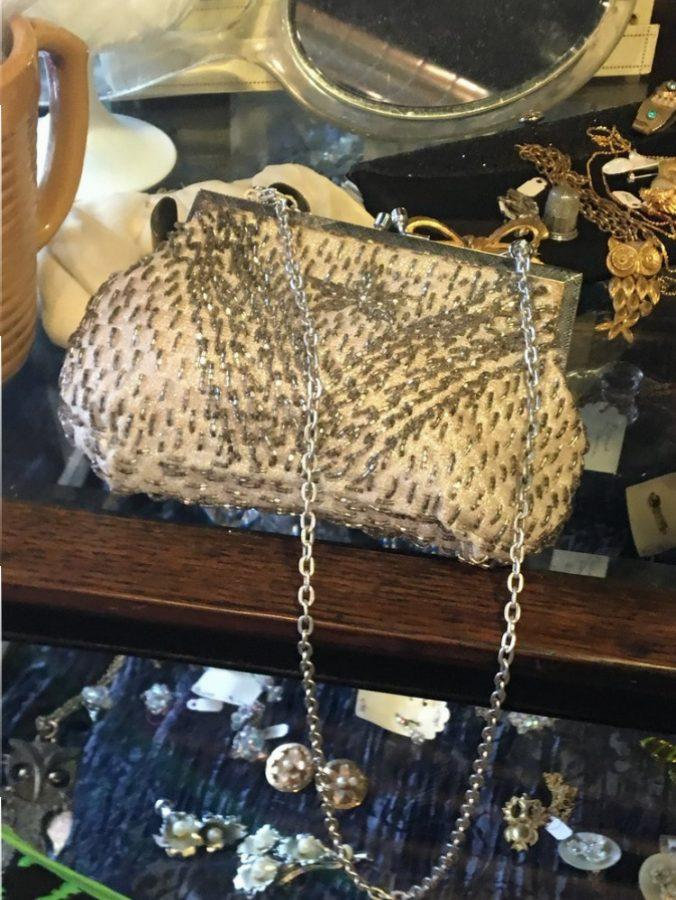 A beaded statement purse at What-Knots, a vintage shop in the area.