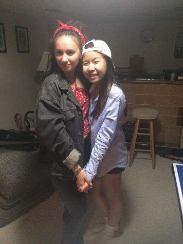 Honey Tey with her friend since third grade, Kennedy Ruiz, at a Halloween party this year.