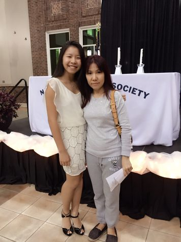 Honey Tey and her mom, Cyndi Lee, at the NHS induction ceremony last month.