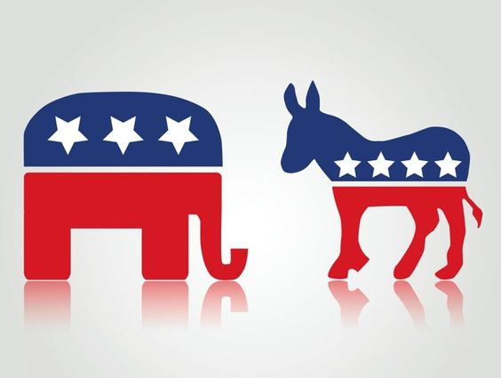 The Republican Party's Symbol (left) and the Democratic Party's Symbol (right)