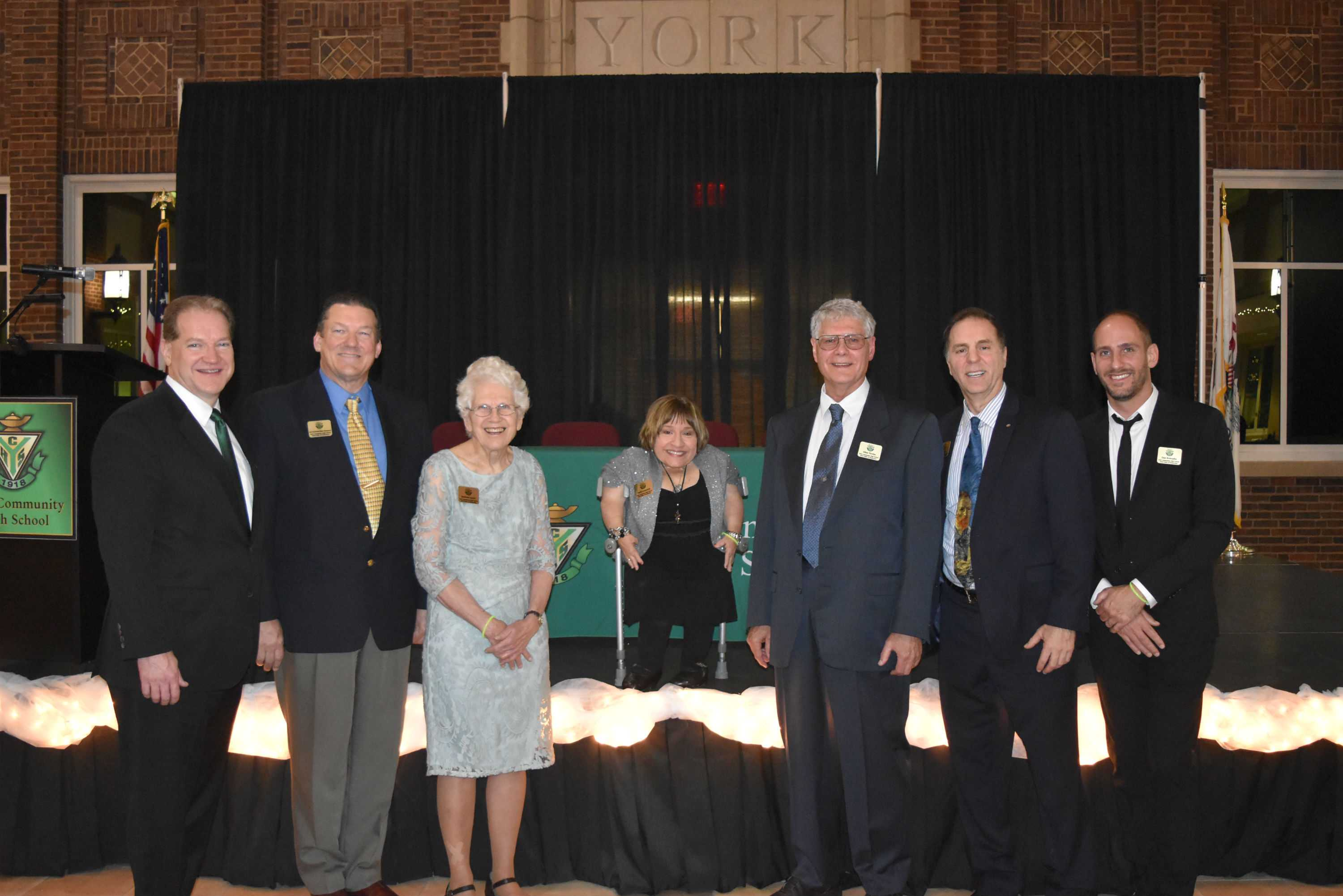2016 Dukes of Distinction gather in the York Commons Thursday evening for induction ceremony. (Left to Right) Jack Lavin, Mark Nottelmann (son of O. Robert Nottelmann) Barbara Kegerreis Lunde, Tekki Lomnicki,  Dr. Allan Tereba,  Judd Lofchie. and Dan Konopka. Thurs., Nov. 3, 2016.