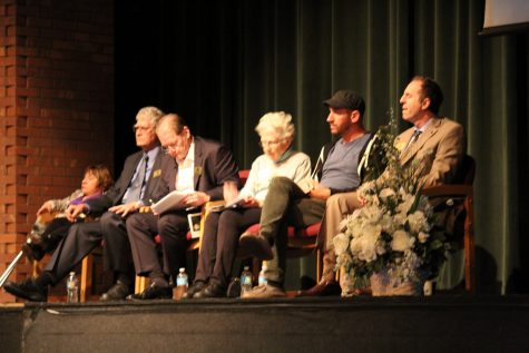 2016 Dukes of Distinction address student body in York auditorium. (Left to Right) Tekki Lomnicki, Dr. Allan Tereba, Jack Lavin, Barbara Kegerreis Lunde, Dan Konopka, Judd Lofchie. Fri., Nov. 4, 2016.