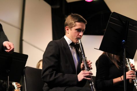 First chair Symphonic Band clarinet performs his solo in Holtz.