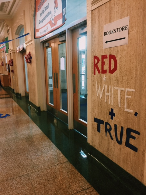 Drama Club hallway displays Red, White, and True, a quote from the musical Big Fish that Drama Club put on in 2015