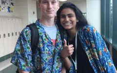 Sophomores Nida Ahmed and Eli Reifenrath show their Hawaiian spirit for Tuesday's spirit day in the week before Homecoming.