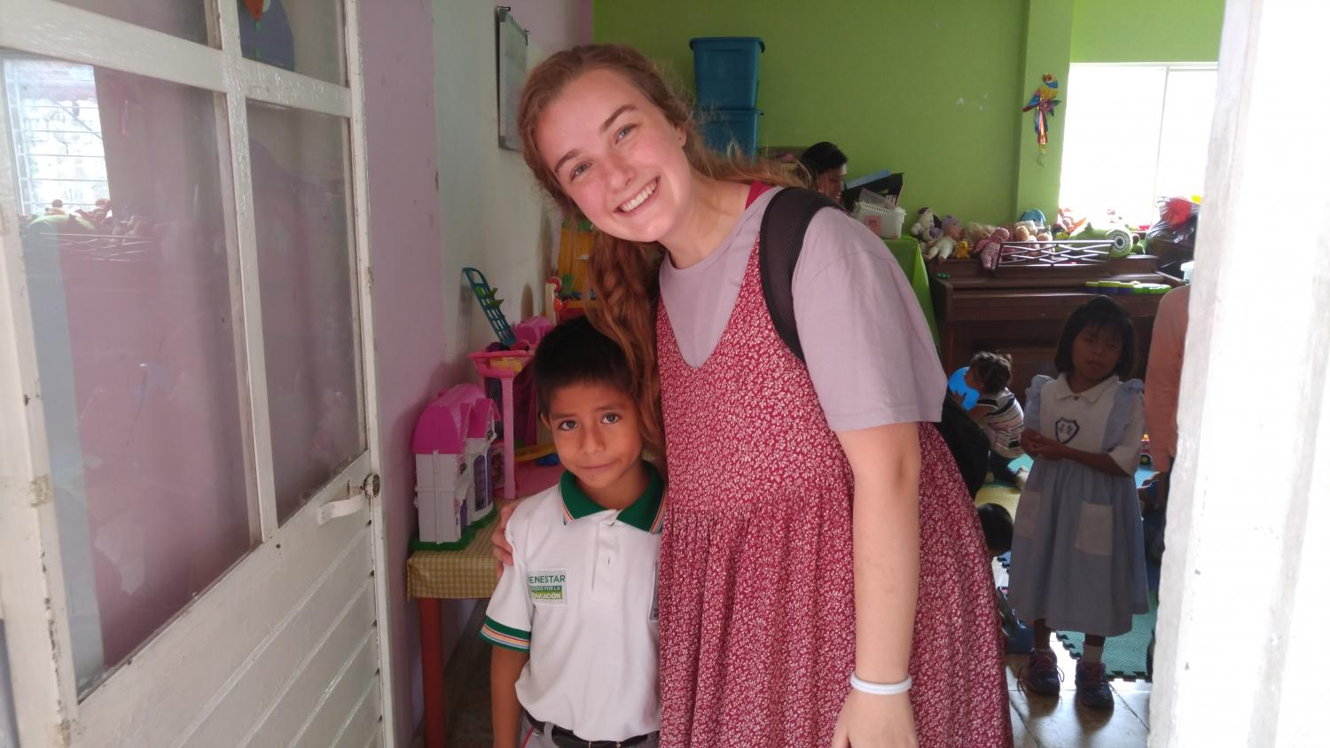 Cambria Khayat smiles with one of her english students at an orphanage in Chiapas, Mexico.