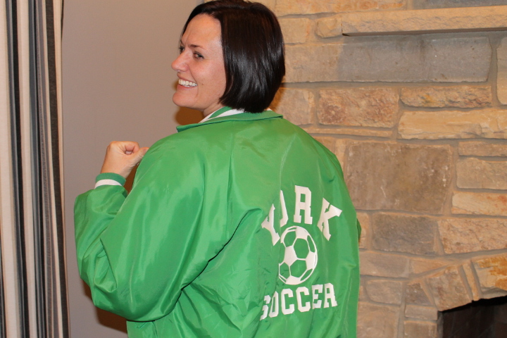 Brown sporting her York Varsity Soccer Jacket over 20 years after her graduation