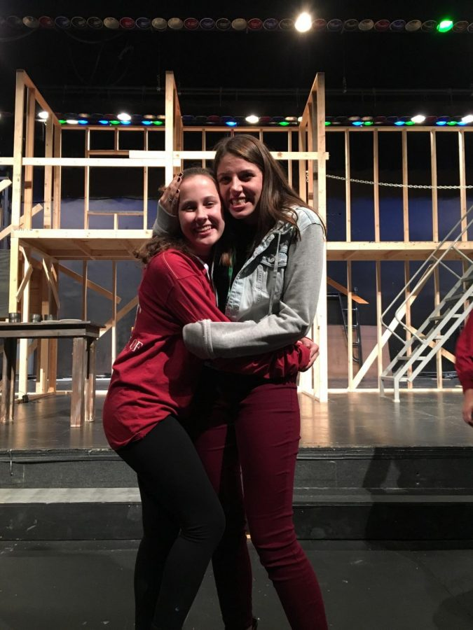 Close friends Olivia Ross, freshman, and Abbie Lockie, senior, together on the unfinished set of