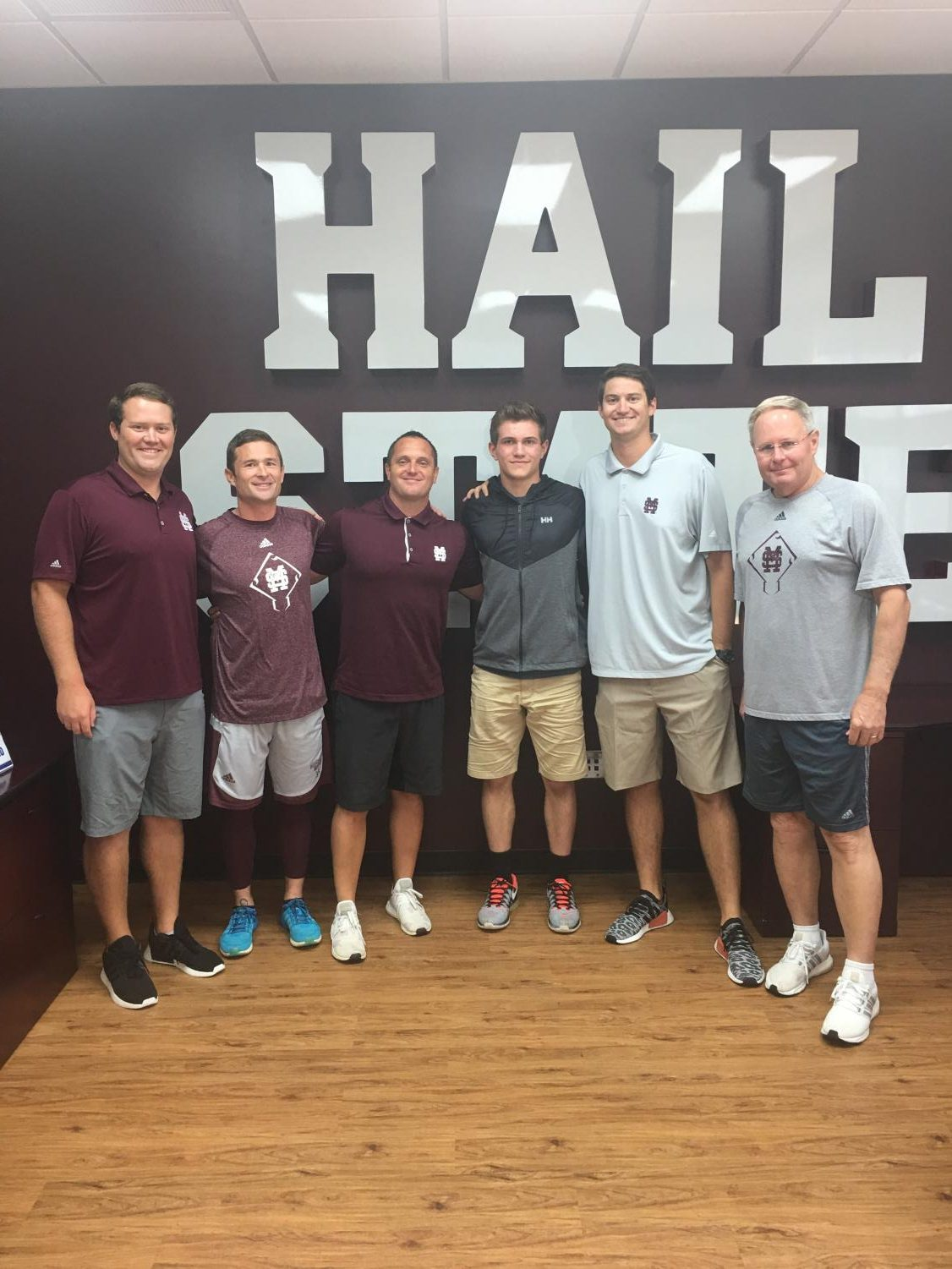 Junior Ryan Ross and the coaching staff from Mississippi State University. Fall 2017.
