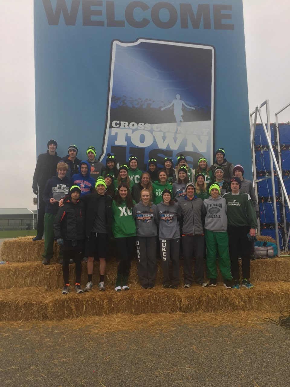 The boys KROY team and the girl's KROY team pose together at the course after their races finished. (Nov. 12,2017)