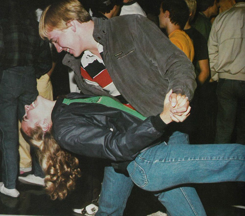 Seniors from the class of '84 are pictured at an annual school dance for their final Y's Tales yearbook.
