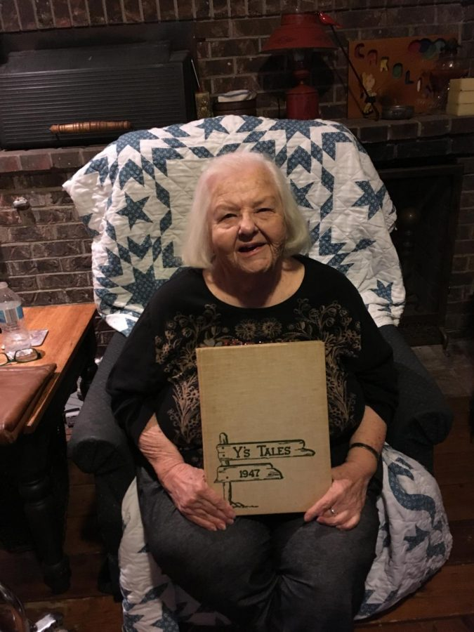Caroline Lavin Hightower with her 1947 Y's Tales yearbook