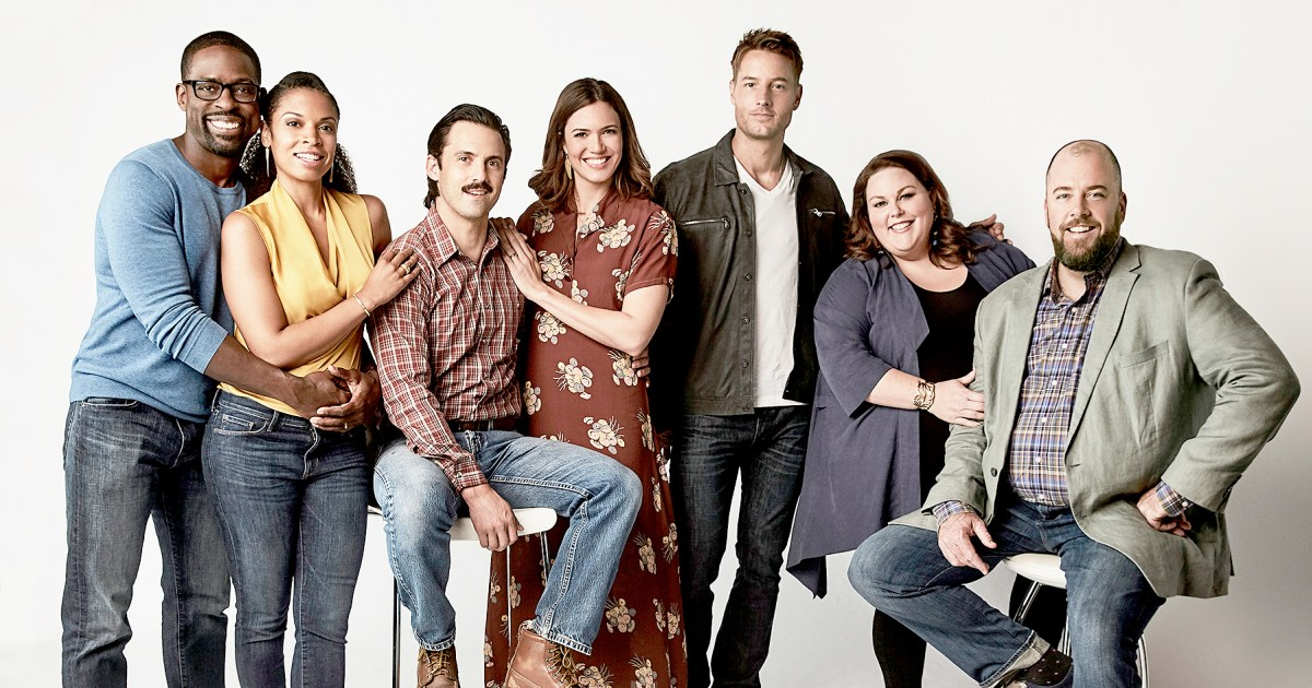 The cast of This is Us: Randall Pearson, Beth, Jack, Rebecca, Kevin, Kate, and Toby Damon.