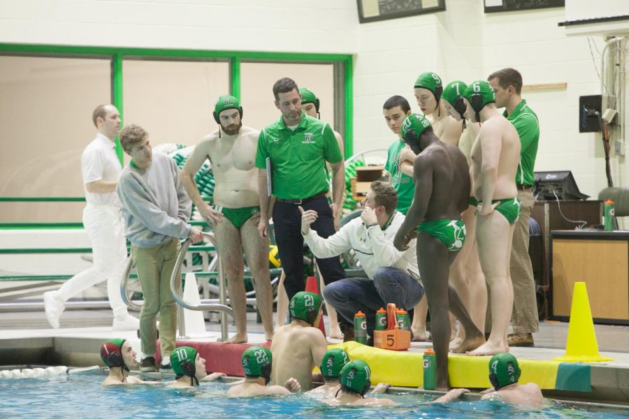 During+a+game+in+2017+the+boys+varsity+polo+team+listened+as+head+coaches+gave+them+advice.