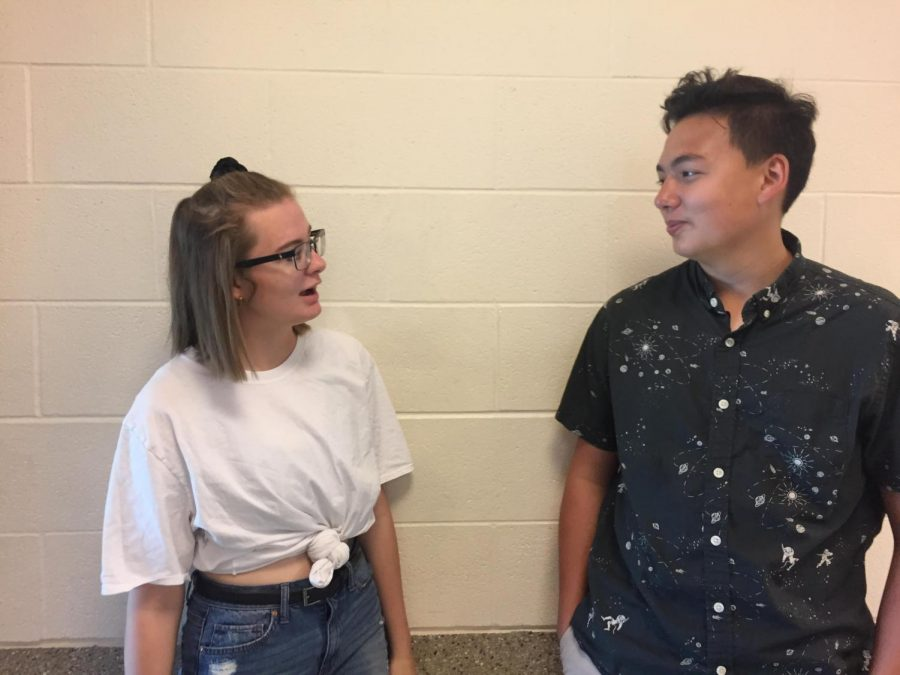 Addison McClary and Sam Gauthier wearing vintage clothing for Vintage Day