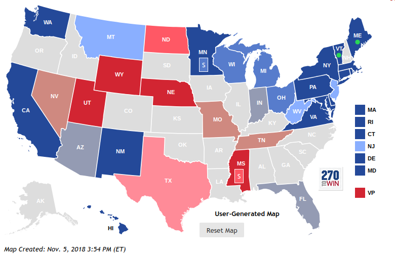 The 2018 Senate Election map representing the predictions of how each state will vote either republican (red) or democratic (blue).