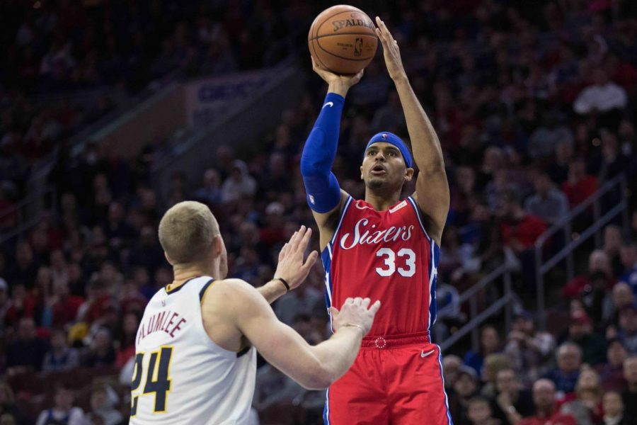 Tobias Harris hits a jumpshot in his 76ers debut. He finished with 14 points and 8 rebounds.