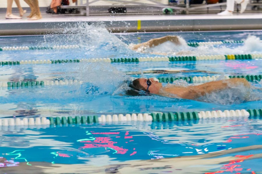 York swimmer does backstroke in the York swimming pool.