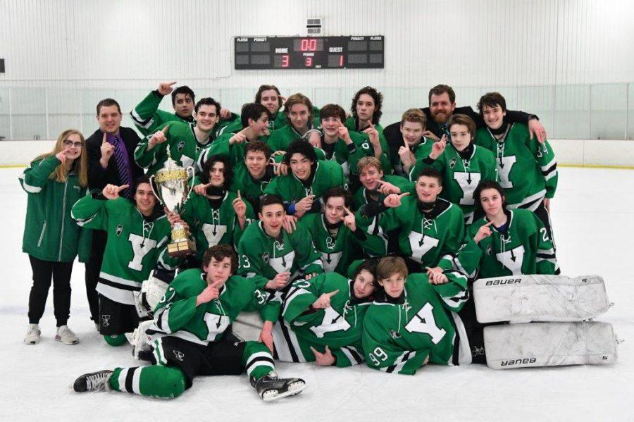 JV hockey celebrates as the first ever Scholastic Hockey League champions in program history.