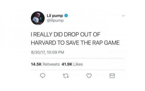 "Lil Pump continues his  'not-to-be-taken-seriously' attitude in his sophomore album, ""Harverd Dropout"""