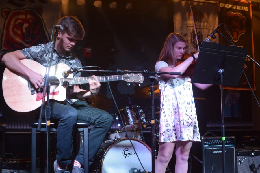 Ben Pavlik and sophomore Tessa Olson perform at the York Album Project's release party at Fitz's Spare Keys. May 4, 2019.