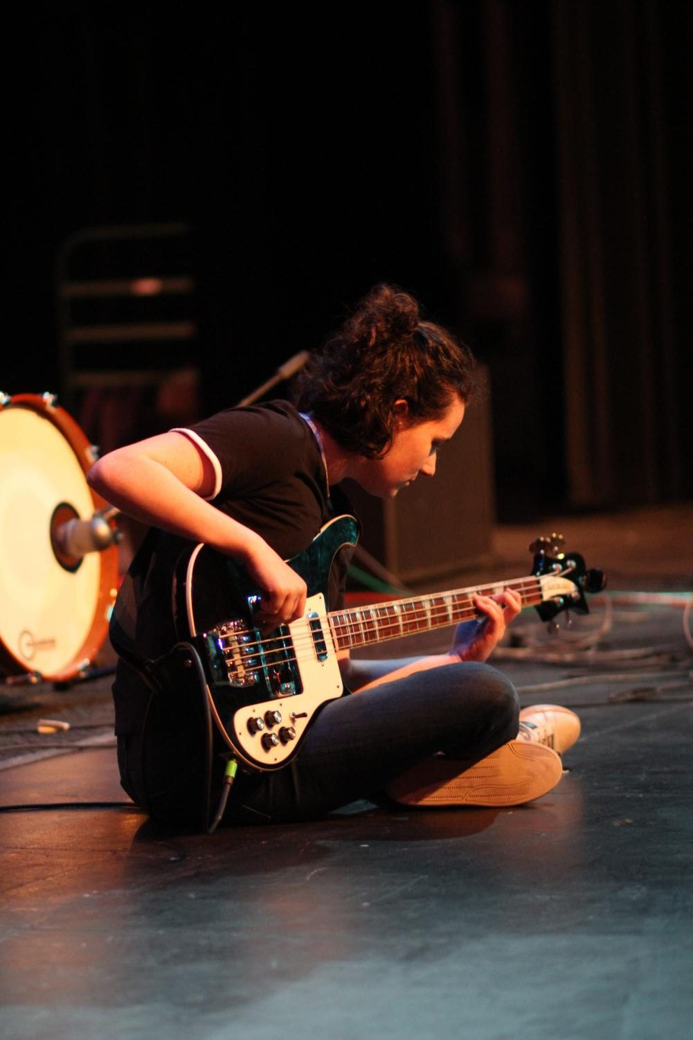 Toffler jams out on the ground during her talent show performance with graduate Ben Pavlik. Photo by Maddy McGreal.