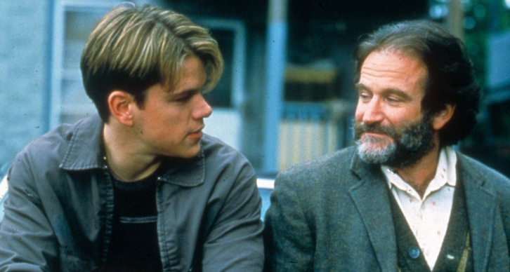 Matt+Damon+and+Robin+Williams+on+the+set+of+%22Good+Will+Hunting.%22+