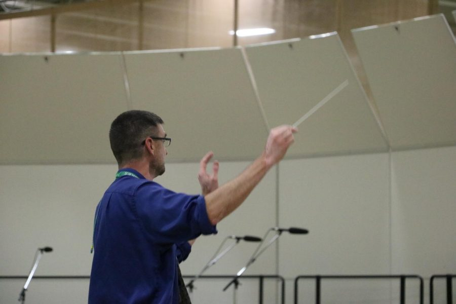 Band director Michael Pavlik leads the Cadet Band in playing Blue Ridge Reel.