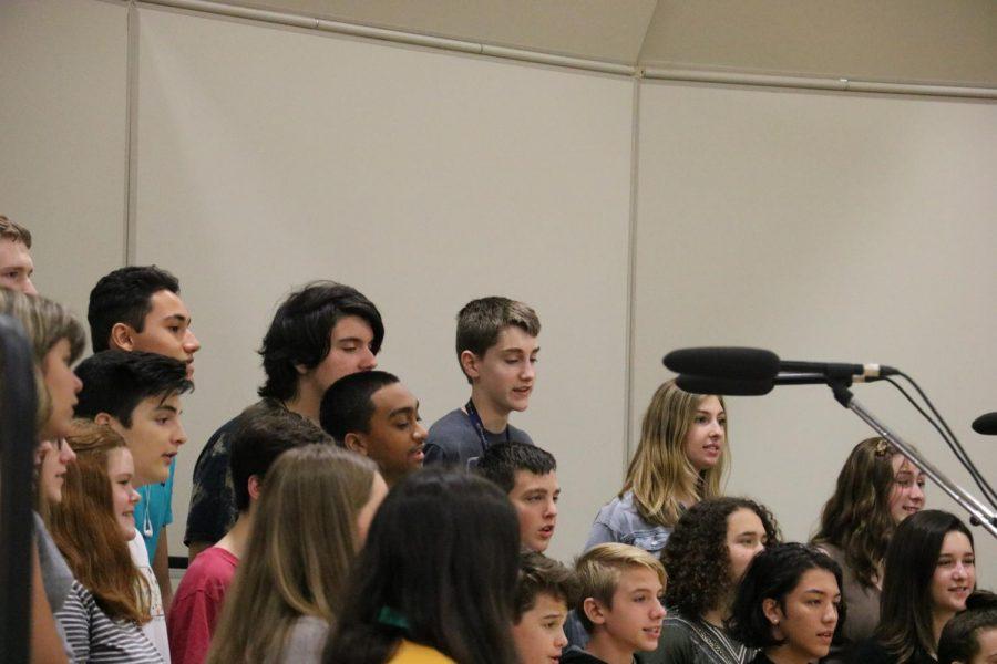 Members of Cadet choir sing Duke's Place at their first York high school concert.