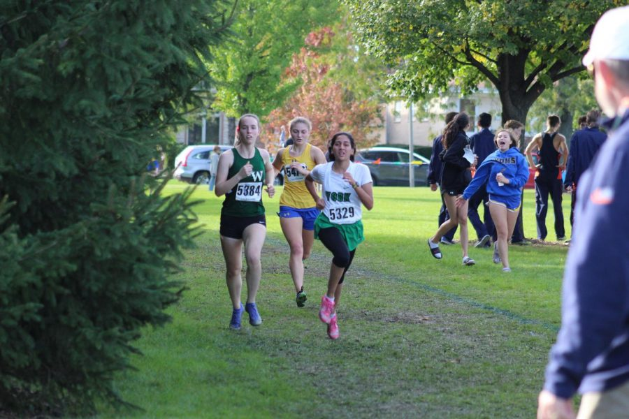 Senior Ayesha Siddiqi nears the end of the race and passes two competitors finishing second for York. Oct. 19, 2019.