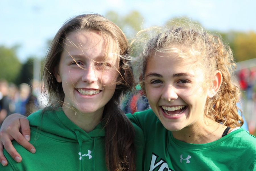 Sophomores Shannon Farrow and Bella Swanson are happy after winning first place on the frosh/soph level. Oct. 19, 2019.