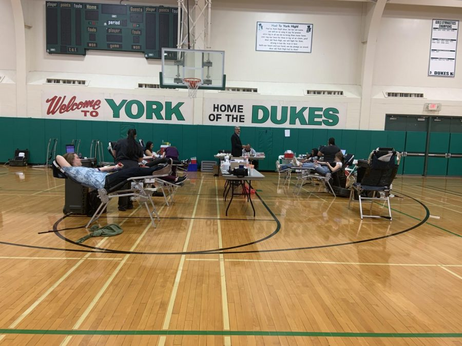 Students sit in their designated chairs to get a pint of blood drawn in order to donate.