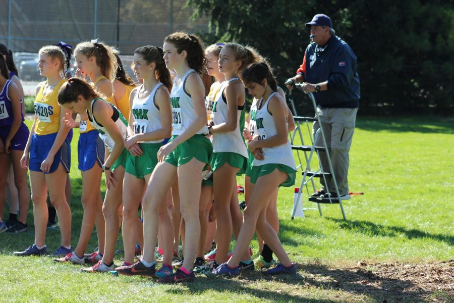 The varsity runners toe the line at Berens Park. Oct. 19, 2019.