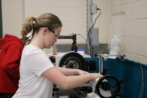 Graduate Sydney Mountcastle works on project in Manufacturing class. With remote learning, students are unable to work in the York Family Consumer Science and Industrial Technology classrooms. Oct. 1, 2019.