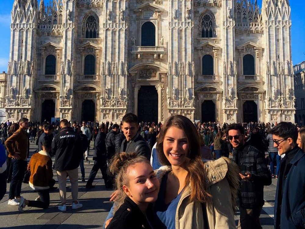 Lanie Meyer and her foreign exchange friend from Poland visiting Duomo di Milano in Milan, Lombardy, Italy.