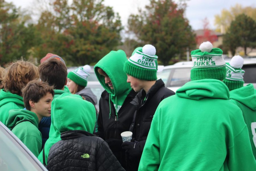 Fans gather together at the York tailgate. Saturday, November 2, 2019.