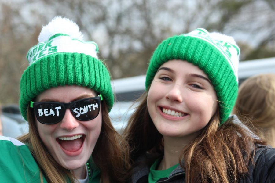 Seniors Abby Moriarty and Rachel Perry show their school spirit at the tailgate. Saturday, November 2, 2019.