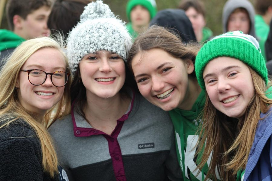 Sophomores Lucy Baird, Lauren Gentile, Emily Baker and Erin Grant get together at the York tailgate. Saturday, November 2, 2019.