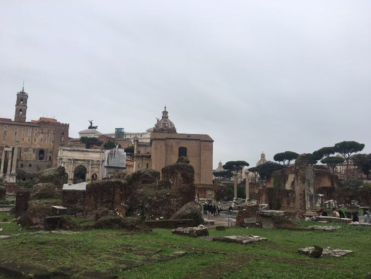 Ruins+of+ancient+Roman+government+buildings+surrounding+the+Colosseum.+Photo+courtesy+of+Lanie+Meyer.